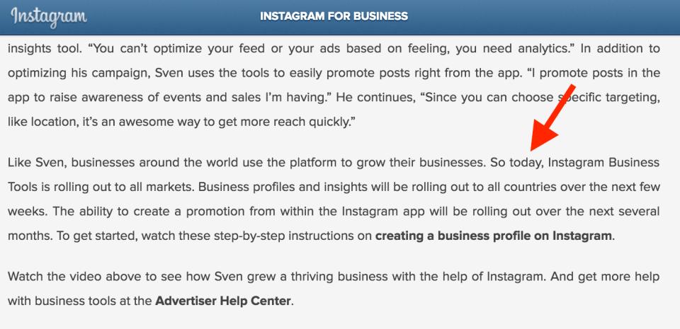 000 - annuncio arrivio profili business instagram in tutto il mondo