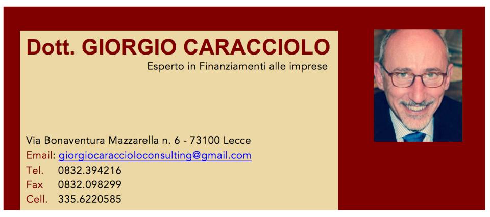 Biglietto da visita Giorgio Caracciolo al 9 agosto 2016