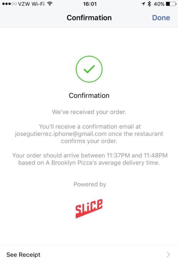 07 - Conferma dell'ordine e arrivo del cibo